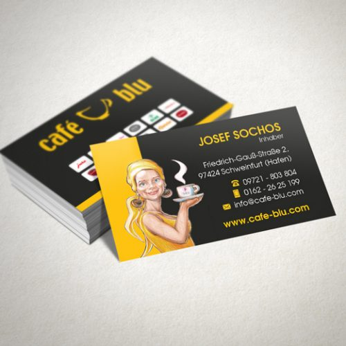 Design Visitenkarten Cafe Blu